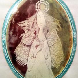 SMALTOVANÁ CEDULKA Anděl srdce 12x15,5cm